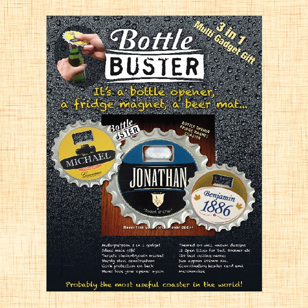 BOTTLE BUSTER OPENER COASTER BEER MAT FRIDGE MAGNET      KIERAN