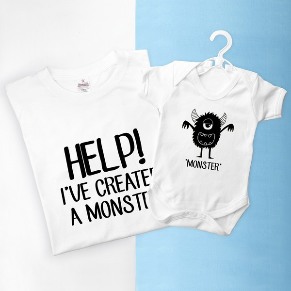 778177c1f Daddy and Me Little Monster Personalised T-Shirt   Baby Grow Set